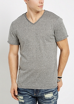 Black Marled V-Neck Raw Edge Essential Tee