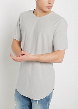 Gray Slub Knit Long Length Essential Tee