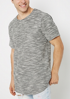 Charcoal Gray Marled Knit Tee