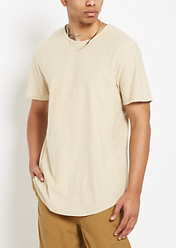 Sand Slub Knit Long Length Essential Tee