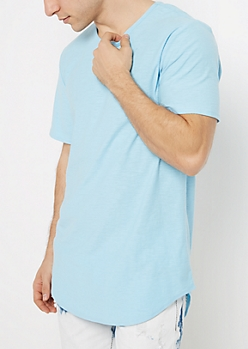 Light Blue Long Length Essential Tee