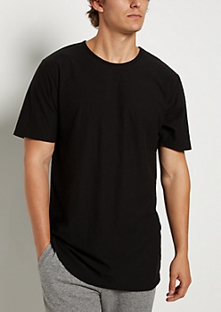 Black Slub Knit Shirttail Tee
