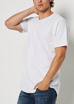 White Slub Knit Shirttail Essential Tee