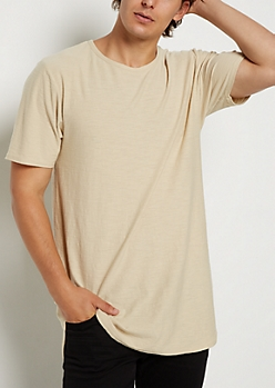 Sand Slub Knit Shirttail Essential Tee