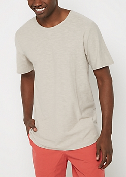 Light Gray Slub Essential Long Length Tee