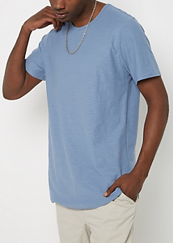 Light Blue Slub Essential Long Length Tee