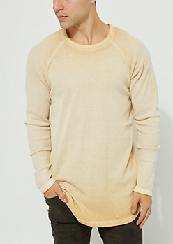 Sand Vintage Thermal Knit Long Sleeve Tee
