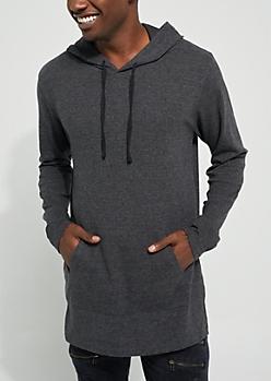Charcoal Longer Length Ribbed Hoodie