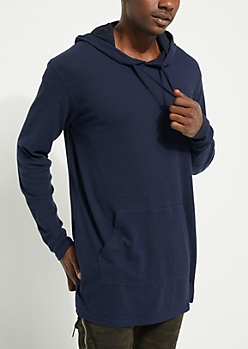 Navy Longer Length Ribbed Hoodie