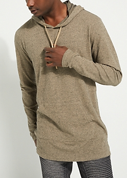 Camel Longer Length Ribbed Hoodie