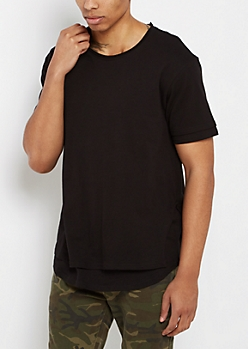 Black Layered Raw Edge Essential Tee