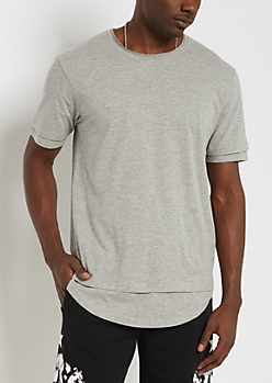 Gray Layered Raw Edge Essential Tee