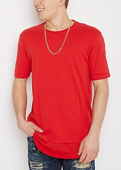 Red Layered Raw Edge Essential Tee