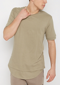 Olive Layered Raw Edge Essential Tee