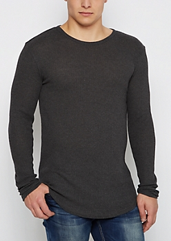 Charcoal Marled Thermal Long Length Shirt