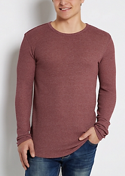 Burgundy Marled Thermal Long Length Shirt