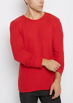 Red Waffle Knit Thermal Shirt