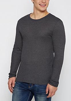 Black Marled Thermal Shirt