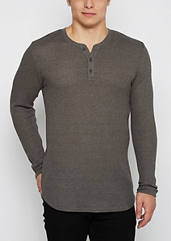 Olive Marled Thermal Henley Long Length Shirt
