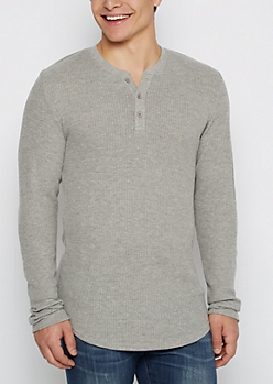 Gray Thermal Henley Long Length Shirt