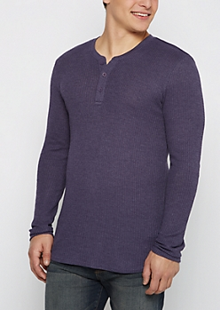 Navy Thermal Henley Long Length Shirt