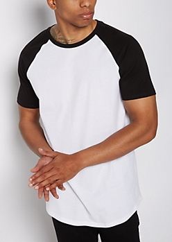 Black Color Block Raglan Tee