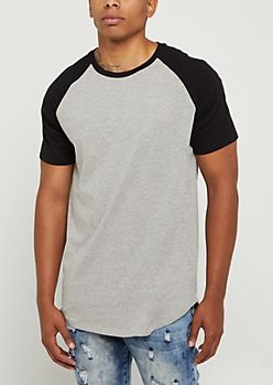 Gray & Black Color Block Raglan Tee