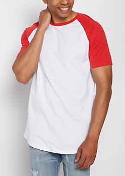Red Color Block Raglan Tee
