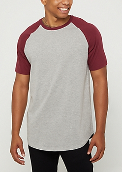 Burgundy Color Block Raglan Tee