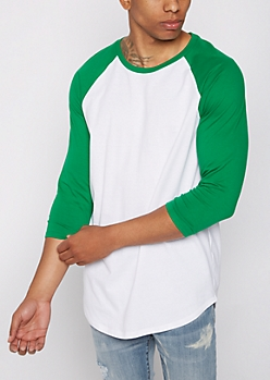 Green Three-Quarter Sleeve Raglan Tee