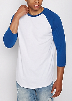 Blue Three-Quarter Sleeve Raglan Tee