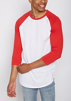 Red Three-Quarter Sleeve Raglan Tee