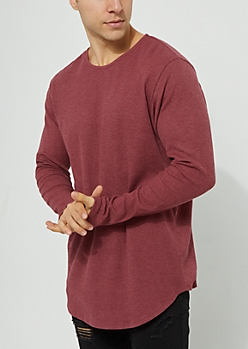 Burgundy Long Sleeve Thermal Knit Tee
