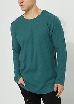 Teal Long Sleeve Thermal Knit Tee