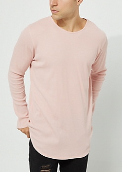 Pink Long Sleeve Thermal Knit Tee