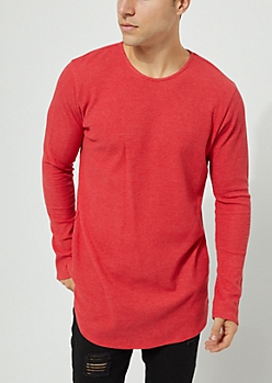 Red Long Sleeve Thermal Knit Tee