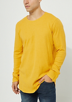 Mustard Long Sleeve Thermal Knit Tee