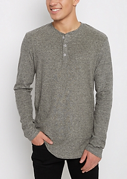 Gray Soft Knit Henley Long Length Shirt