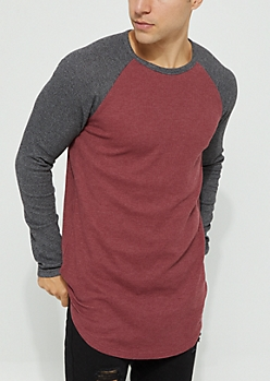 Burgundy Thermal Knit Long Sleeve Raglan Tee