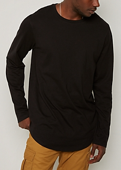 Black Long Sleeve Long Length Tee