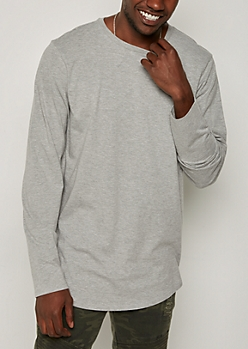 Heather Gray Long Sleeve Long Length Tee