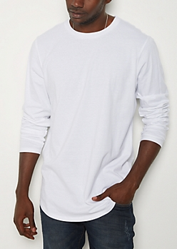 White Long Sleeve Long Length Tee