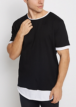 Black Layered Long Length Essential Tee