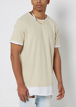 Sand Layered Long Length Essential Tee