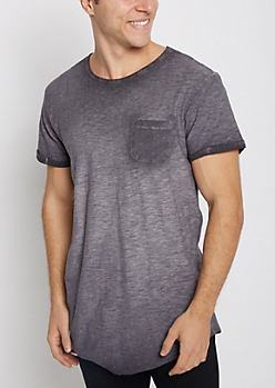 Navy Washed Long Length Essential Tee