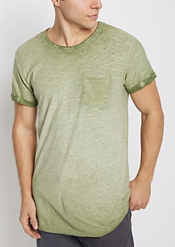 Olive Washed Long Length Essential Tee