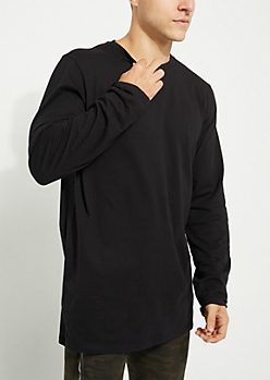 Black Longer Length Long-Sleeve Essential Tee