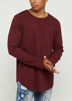 Burgundy Thermal Long Sleeve Shirt