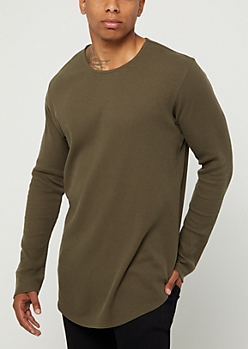 Olive Thermal Long Sleeve Shirt