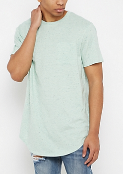Mint Speckled Long Length Essential Tee